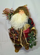 Midwest Santa Claus Father Christmas  Rustic Patchwork Coat Sack Snow Shoes - $56.09