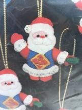 Bucilla Christmas Felt Ornament Kit Jeweled Super Santa Hero Set Of 6 48787 - $24.52