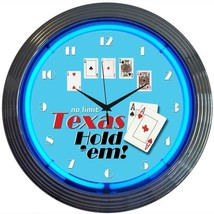 "Poker Texas Hold 'Em Neon Clock 15""x15"" - $59.00"