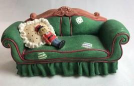 Priscilla Hillman Nutcracker Accessory Green Couch Trinket Box Enesco 1997 - $15.66