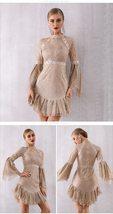 Women's Brand Designer Style Flare Sleeve Sequined Mini Club Dress image 2