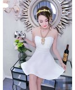 PF246 sexy sweet neck halter blouse w swing dress,free size white - $18.80