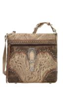 American West- Saddle Ridge Zip Top Shoulder Bag (Sand) - $228.00