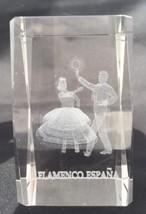 "Flamenco Dancers Inside Clear Glass Cube 3""x2""x2"" Trophy Display Decorat... - $27.43"