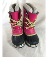 Sorel US 4 Ladies Snow Boots Pink Leather Lace Up Caribou Mid Calf Water... - $46.55