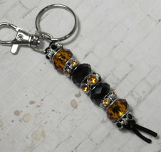 Murano Rhinestone Beaded Handmade Split Ring Keychain Hook Black Amber New - $19.39