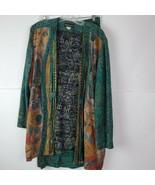 Vintage In Group Ltd Womens Green Bohemian Open Front Jacket Skirt Set Size 10  - $49.48