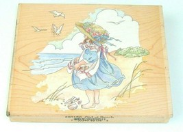 GIRL AT BEACH Rubber Stamp Stamps Happen Beach Sand Ocean Shells 80156 - $6.92