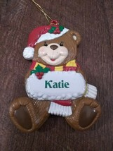 Teddy Bear Christmas Ornament Personalized Katie 2003 Stravina - $29.35