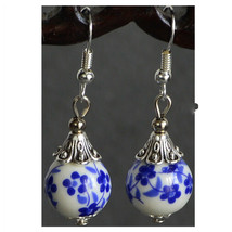 National Style Flower Earring Blue-and-white Porcelain Pear 925 Silver - $9.81