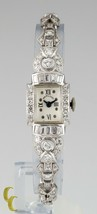 Hamilton Platinum Diamond Women's Mechanical Hand-Winding Art Deco Watch - $4,445.71