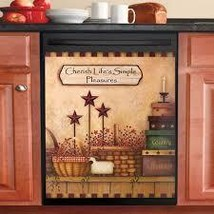Primitive Country Charm Dishwasher Magnet Cover, Brown - $14.99