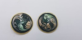 Vintage Gold Tone Black Base W/ Multi Color Hand Painted Swirl Pattern E... - $15.44