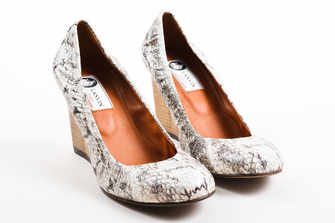 Lanvin NIB Cream Black Snakeskin Wooden Wedge Heel Ballerina Pumps SZ 38