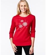 Karen Scott Embellished Snowflake Top RED AMORE - $11.88+