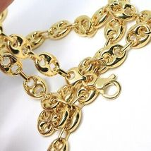 18K YELLOW GOLD MARINER CHAIN BIG OVALS 10 MM, 24 INCHES ANCHOR ROUNDED NECKLACE image 4
