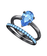 Pear Cut Blue Topaz  14k Black Gold Over 925 Silver Engagement Bridal Ring  - $69.35