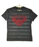 Guess Mens Black Gray Red Short Sleeve Straight Hem V Neck Graphic T Shi... - $34.25