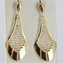Yellow Gold Earrings 750 18k Machined Pendants Drops 4 cm, Made in Italy image 1