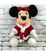 Disneyland Walt Disney Minnie Mouse Large Christmas Plush Red Velour San... - $29.69