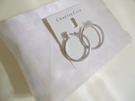 """Charter Club 1-1/4"""" Silver-Tone Textured Hoop Earrings N945 $29 - $9.67"""