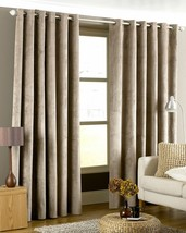 """IMPERIAL TAUPE BEIGE HEAVYWEIGHT VELVET 66"""" X 90"""" LINED RING TOP CURTAIN... - $59.70"""