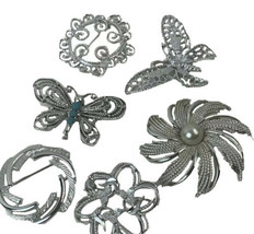 Lot of Six Silver Toned Brooches Butterflies Flowers Sarah Coventry - $26.14