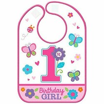 Girl's 1st Birthday Bib with Butterflies & Flowers - $7.41