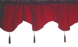 Gothic Decor Blood-RED WINDOW VALANCE CURTAIN-Brocade Damask Holiday Dec... - $6.90