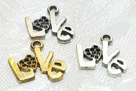 LOVE WORD WITH HEART FINE PEWTER PENDANT CHARM - 16x14x1mm