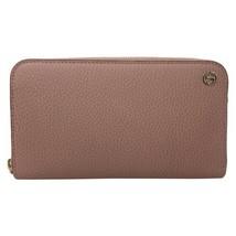 New Gucci Pink Interlocking G Leather Continental Zip Wallet Clutch Card... - $327.25