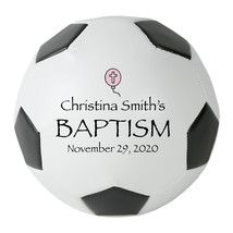 "Personalized Custom Mini 6"" Soccer Ball Pink Balloon Baptism Gift - $34.95"