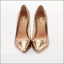 Metallic Gold Patent Leather Pointed Toe Embossed Snake Skin Stiletto Heels  image 3