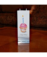 Happy Birthday Cupcake Flatyz Handmade Twin Wick Unscented Thin Flat Candle - $17.05