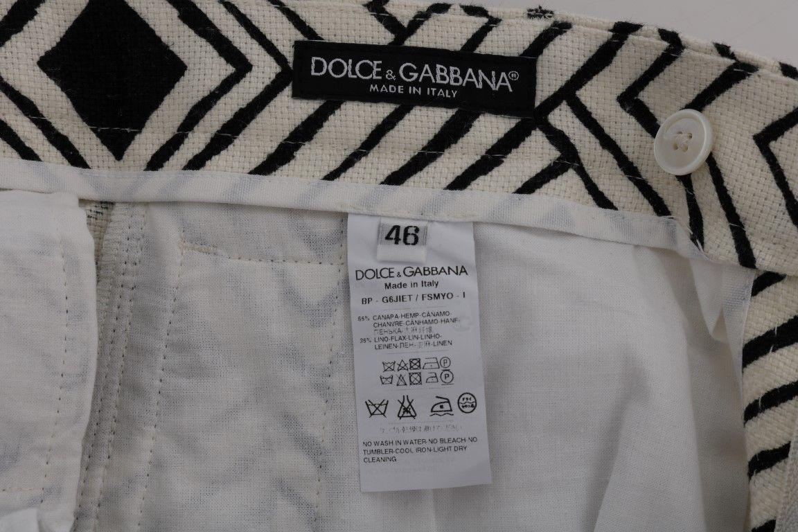 New $610 Dolce & Gabbana Men White Black Striped Casual Shorts It50-L