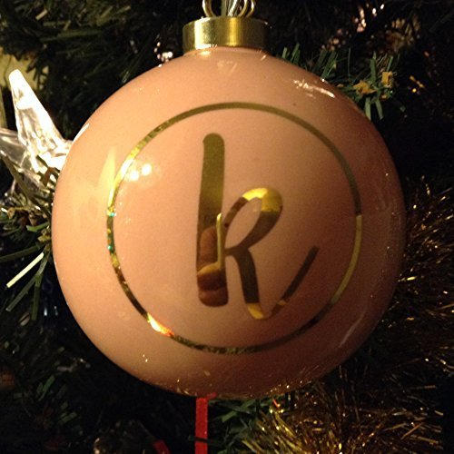 Letter K in Gold on Pink Ceramic Monogram Ornament