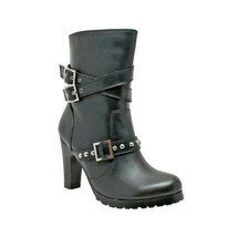 "WOMEN'S HEELED 3 BUCKLE STYLED 10"" LEATHER MOTORCYCLE BIKER BOOT SIZE 7.... - $129.66"