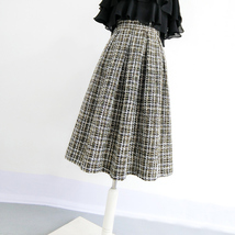 Black Winter Tweed Skirt Outfit A-line High Waisted Pleated Tweed Skirt image 2