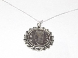Fine Pendant 1934 Irish sixpence 84th Birthday + 18 inch Sterling Silver... - $17.47