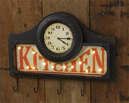 Kitchen Wall Clock with Hooks in Distressed Metal -LED - $79.99