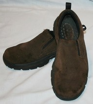 Lands End Brown Leather Slip On Shoes 8 1/2 / 9 Womens 8.5 - $24.92