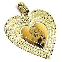 Pendant Medal, Yellow Gold 750 18K, Virgo Mary Jane Del Monte Carmelo, Heart image 2