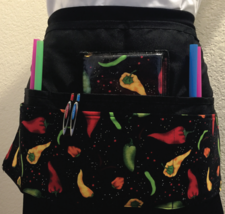 6 Pocket Waist Apron / Chili Peppers - $19.95
