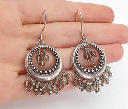925 Sterling Silver - Vintage Smoky Quartz Beaded Cluster Drop Earrings ... - $46.79
