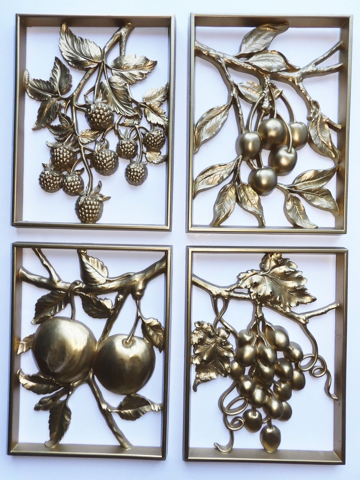 GOLD FRUIT WALL PLAQUES SYROCO RAISED 3-D  SET OF 4 VINTAGE