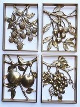 GOLD FRUIT WALL PLAQUES SYROCO RAISED 3-D  SET OF 4 VINTAGE - $19.80