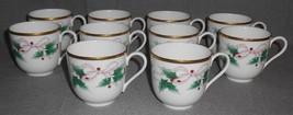 Set (10) Mikasa Bone China Ribbon Holly Pattern Handled Cups Made In Japan - $102.95