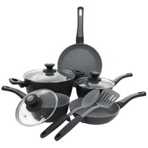 Oster 10 Piece Non-Stick Aluminum Cookware Set in Black and Grey Speckle - $101.74