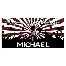Burgundy and White Graduation Banner Personalized Class of 2018 Party Ba... - £17.34 GBP