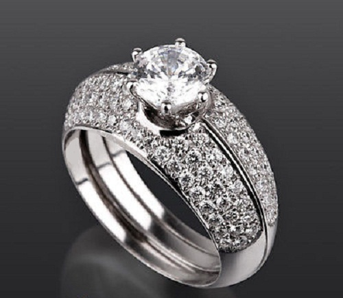 Women's Three Piece Engagement Ring Set 14k White Gold 925 Silver Round Cut CZ